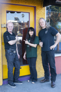 Chris Slade, Miwa and Sean Lee outside The Voice Mechanic - Melrose Location