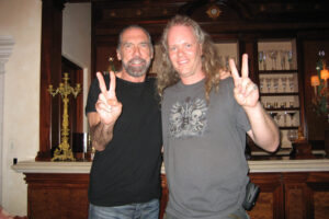 Sean Lee & Paul DeJoria of Paul Mitchell & Petron Tequila after directing a TV show in Paul's house in Malibu - 1990's