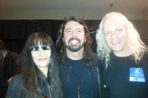 Sean Lee and Miwa with Dave Grohl Backstage for ACDC at MGM Grand Las Vegas
